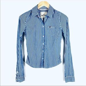 Hollister Blue White Stripe Button Long Sleeve Top